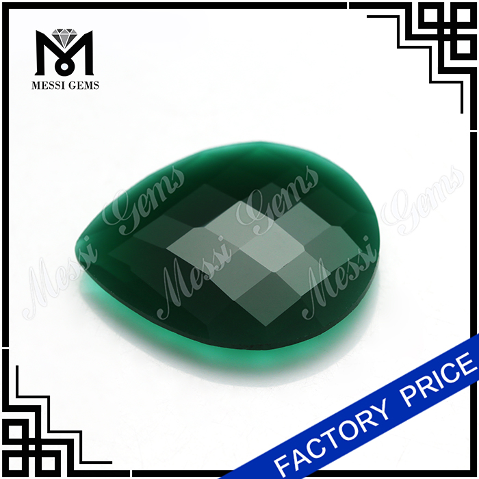 Natural Jade Stone Wholesale Pear Faceted Green Jade For Ring Jewelry