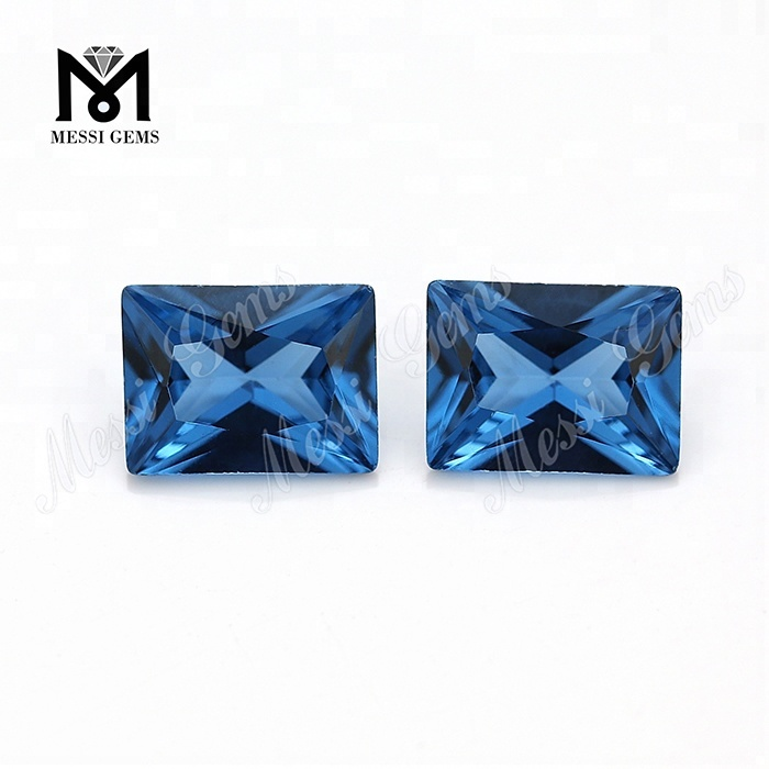 Wholesale Loose New Arrival Baguette 6 x 8mm 120# Blue Synthetic Spinel