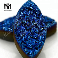 Wholesale Marquise Blue Natural Druzy Agate Stone