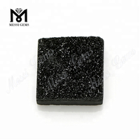 Druzy Stone Black Square Shape 12x12mm Natural Druzy For Jewelry