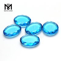 Aqua blue Oval big window cut glass stone