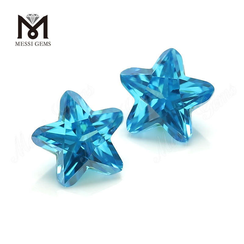 wuzhou 7x7mm star shaped aqua blue cz loose stones