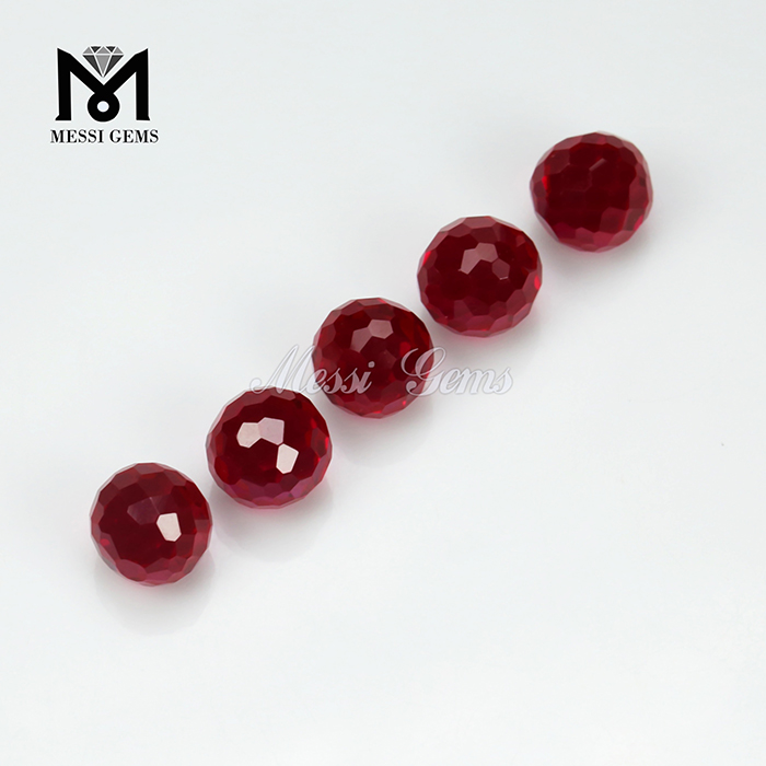 Wholesale Synthetic Faceted Corundum Loose 5# Red Ruby Bead Gemstone