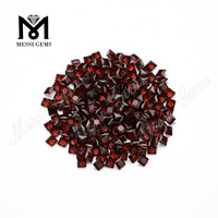 3x3mm princess cut clean gemstones loose natural red garnet