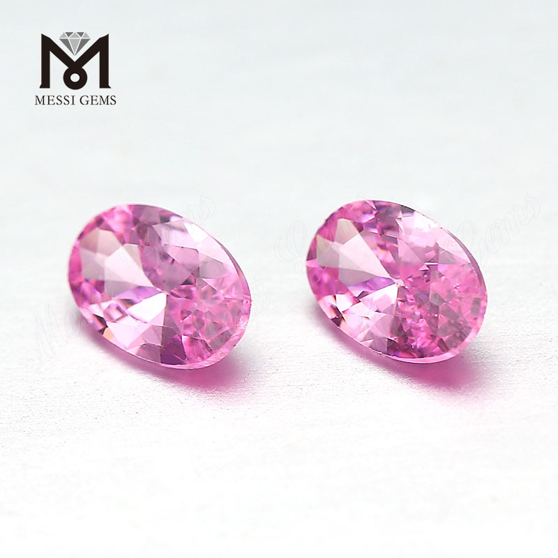 Factory Price Top Machine Cut 4x6mm Oval Cut Pink Loose Cubic Zirconia Stone