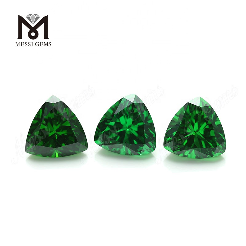 Wholesale Trillion 10x10mm Green Synthetic Cubic Zirconia Stone