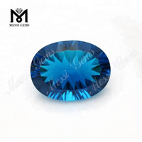 Wholesale 15x20 Synthetic Concave Cut Blue Glass Gemstone