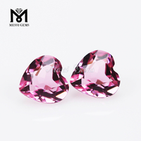 Heart Shape Faceted Decorative Pink Glass Gemstone