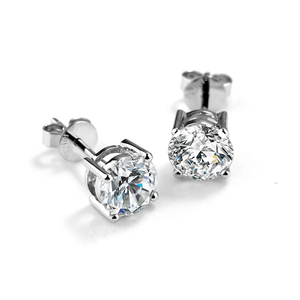 Simple Design White And Gold 4 Claws 1ct Moissanite Stud Earrings