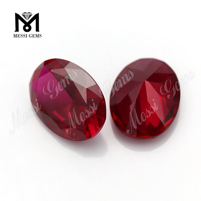 Oval Machine Cut Red Ruby Gemstones Synthetic Artificial Rubies for Jewelry Making