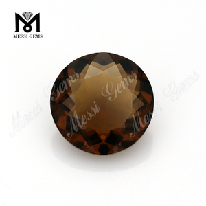 large size 12mm cognac quartz faceted glass round stones