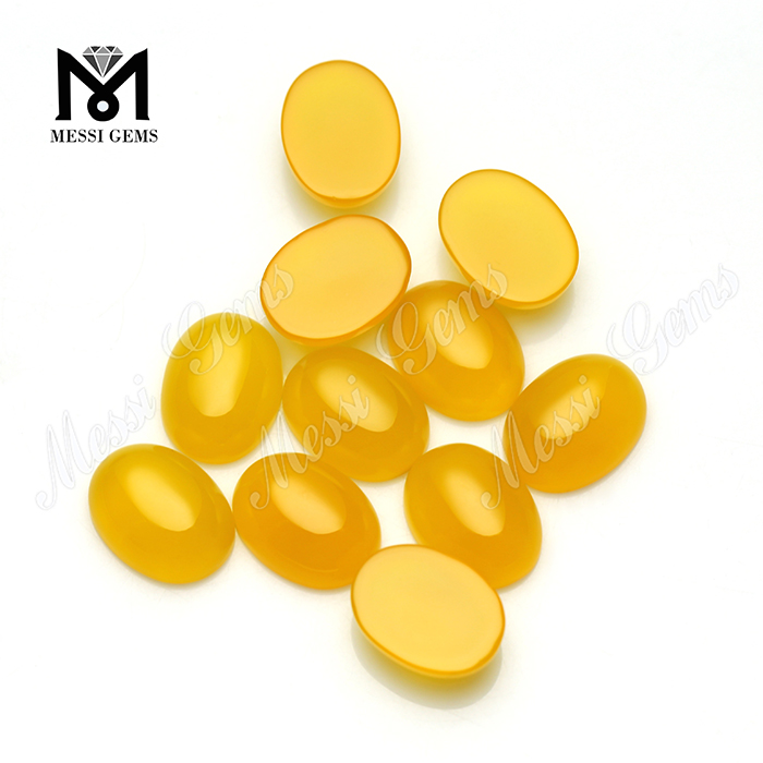 Factory Direct Sell Oval Cabochon Gemstone Yellow Agate Beads