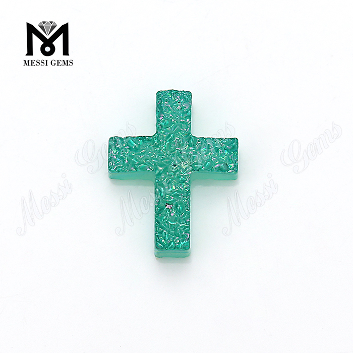Factory Direct Wholesale Aqua Cross Natural Stone Natural Druzy Stone