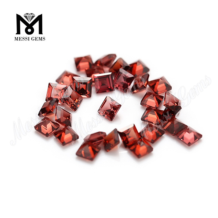 Natural gemstone wholesale 3x3mm square shape garnet stone price