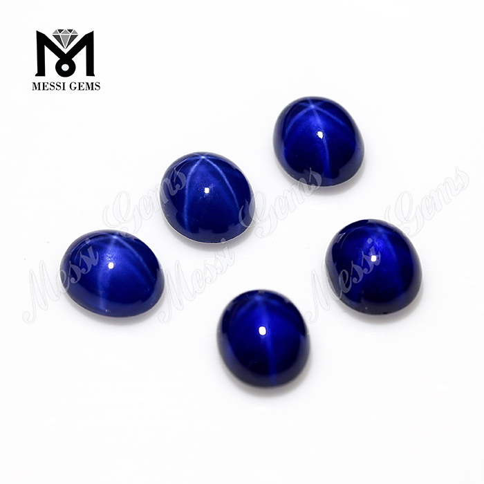 Synthetic Sapphire 6x8mm Oval Cabochon Blue Star Sapphire