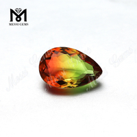 PEAR CUT BI-COLOR TOURMALINE GLASS STONE FOR JEWELRY