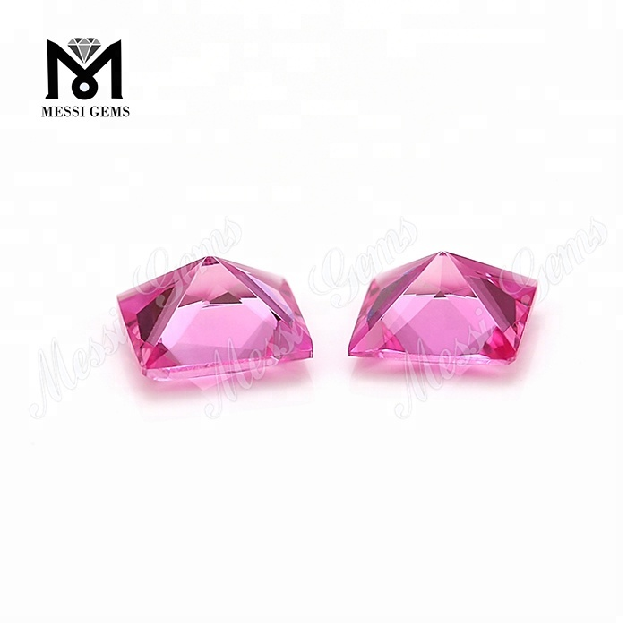 #2 synthetic pink corundum stones ruby princess cut for jewelry setting