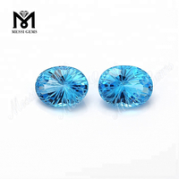 Wholesale oval fancy cut natural blue topaz stone