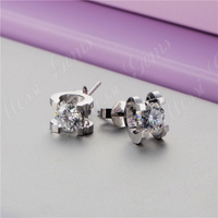 Cheap Women Moissanite Main Stones 18K Real White Gold Filled Round Earring