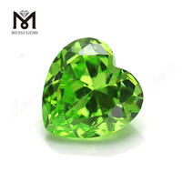 Heart shape 10x10mm apple green cubic zirconia synthetic cz gemstone