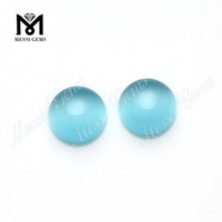 Aquamarine cat's eye cabochon synthetic crystal glass stone