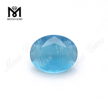 Wuzhou round crystal cat's eye blue glass stone