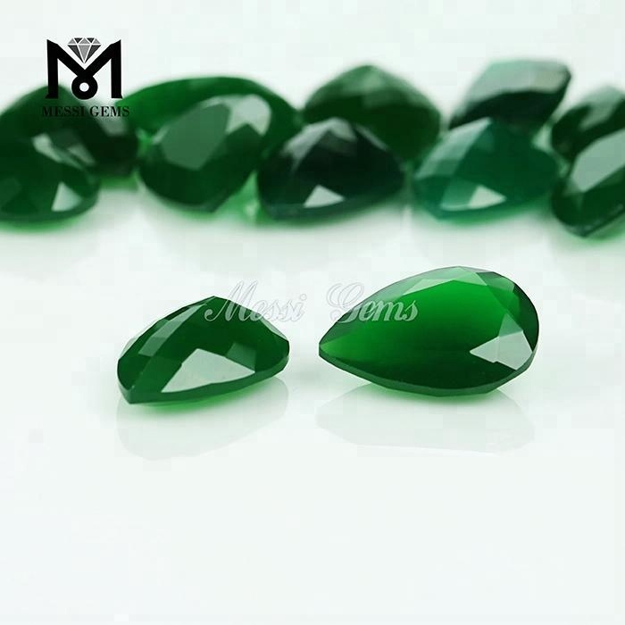 Wholesale Factory Direct Sell Pear Cut 10 x 14mm Loose Gems Green Agate Stone