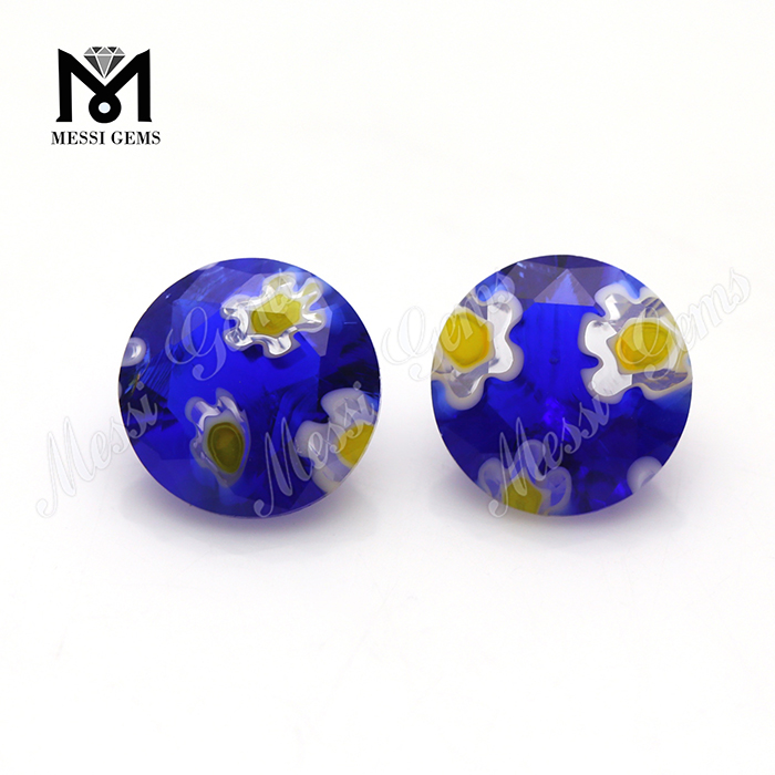 8.0 MM Round blue flower decorative colored glass stone