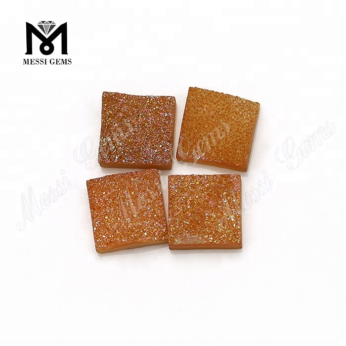 Wholesale factory square cut amber druzy cabochon natural druzy stone price