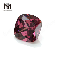 Wholesale high quality 6mm cushion cut rhodolite cz loose gemstone