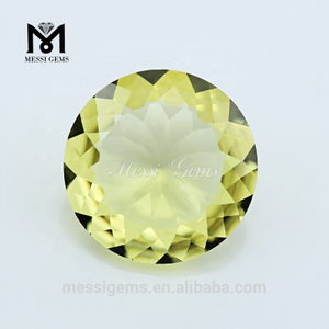 Wholesale Loose Round Shape Lemon Citrine Crystal Glass Stone