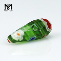 green color drop shape Murano frost glass bead Millefiorie