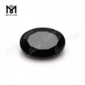 natural gemstones material oval faceted black onyx from China