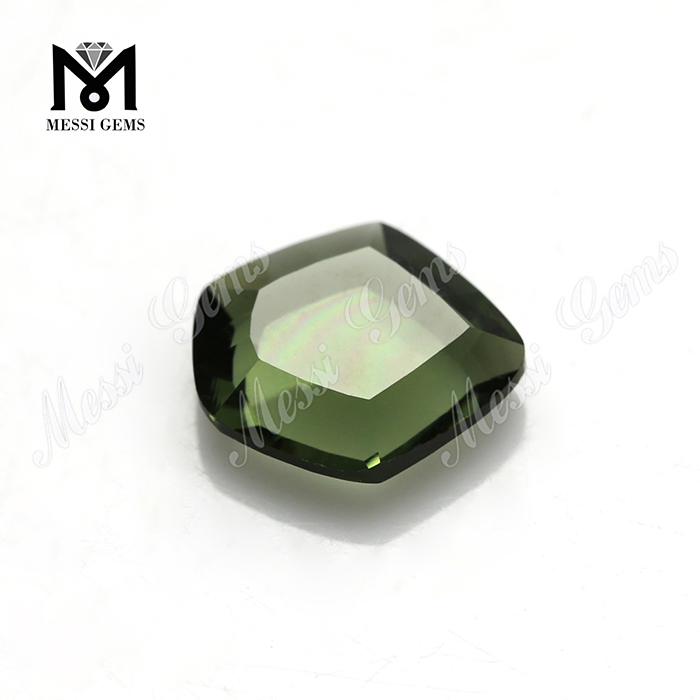 wholesale 9x10mm hex shape green glass stone synthetic glass price