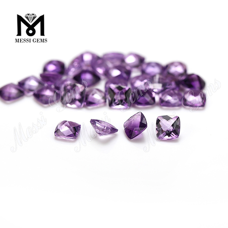 Factory natural gemstone faceted cushion shape amethyst stone price