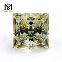 Factory price loose gemstone princess cut yellow moissanites for ring