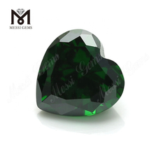 Green Color Heart Cut 10*10mm Synthetic Cubic Zirconia CZ Stone