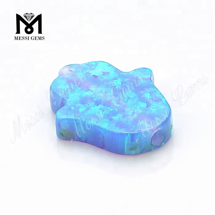Lab Created Synthetic Loose 11 x 13 x 2.5 mm Blue Opal Hamsa Gemstones