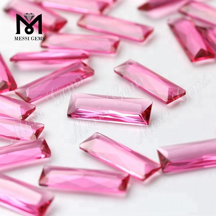 wholesale 8x24mm pink sapphire baguette glass stone
