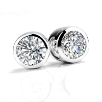 14K White Gold Bezel setting 1ct Moissanite Stud Earrings Sets For Women