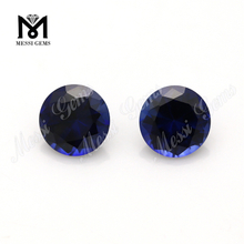 Wuzhou Stock Factory Round 7mm Synthetic 34# Blue Corundum Gemstone