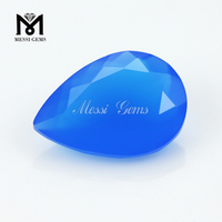 Pear Machine Cut Blue Natural Agate Gemstone