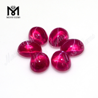 Lab Created Oval Cabochon Synthetic Ruby Star Sapphire Stone