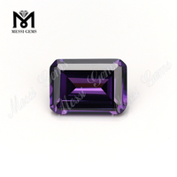 synthetic octagon shape amethyst zirconia loose gemstone