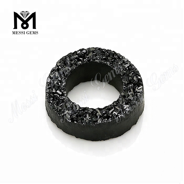 Tyre Shape Druzy Stone Black Natural Agate On Sale