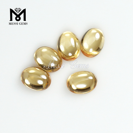 Oval Cabochon 6 x 8 mm champagne synthetic cubic zirconia