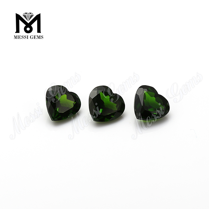 Wholesale high quality heart shape loose gemstone natural chrome diopside