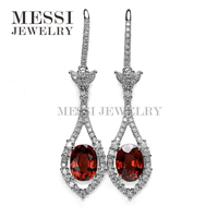 Cheap 18K White Gold Natural garnet stonse Earrings