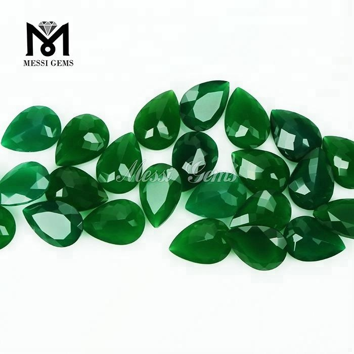 Loose Faceted Pear Cut Natural Green Jade gemstone