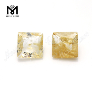 Factory Price 9x9MM Square Cut Rutilated Quartz Glass Gemstone